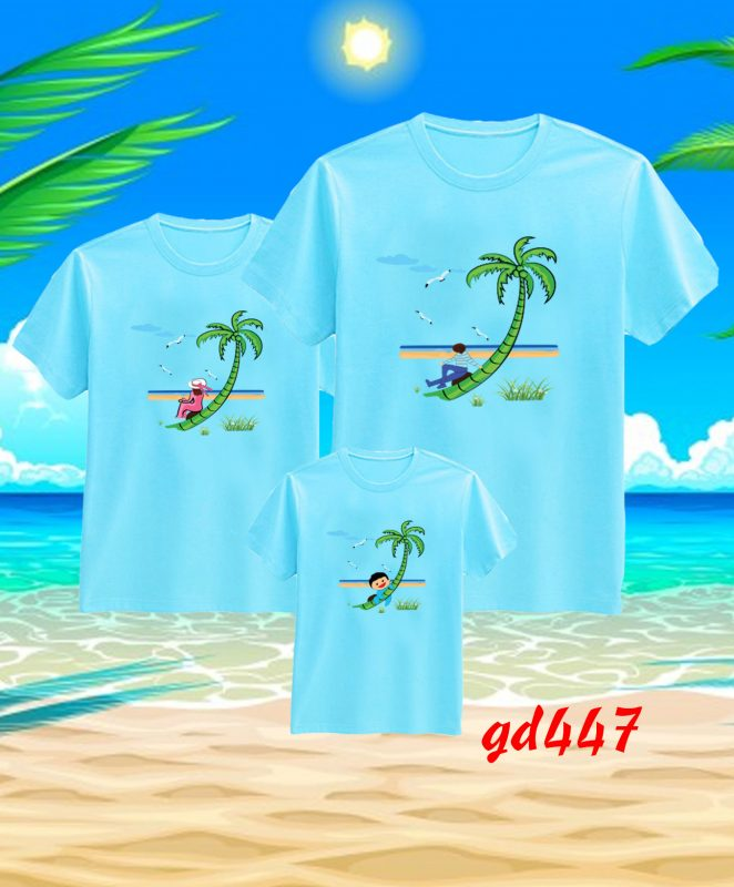 mẫu áo thun gia đình đi biển