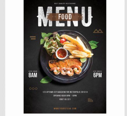mẫu menu thực đơn