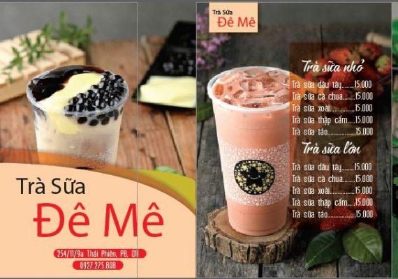 mẫu menu trà sữa đơn giản