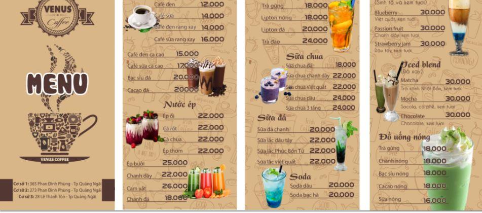 menu đồ uống đẹp
