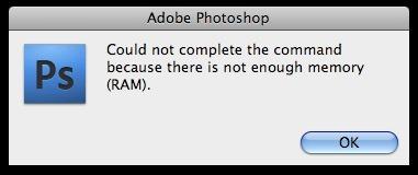 lỗi not enough memory photoshop