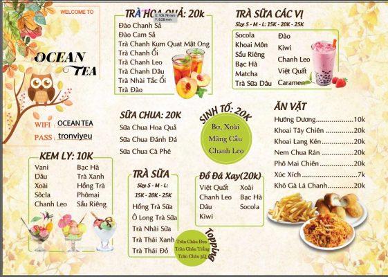 mẫu menu trà sữa vector