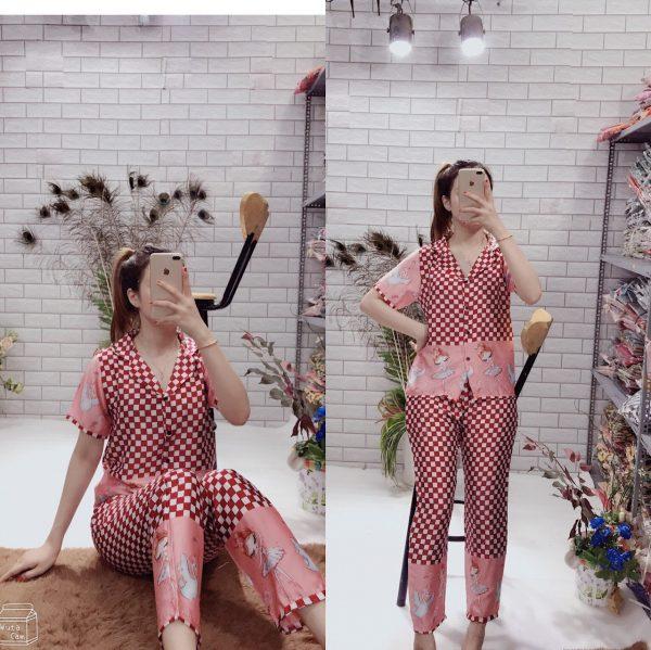 pijama nữ lụa dài tay